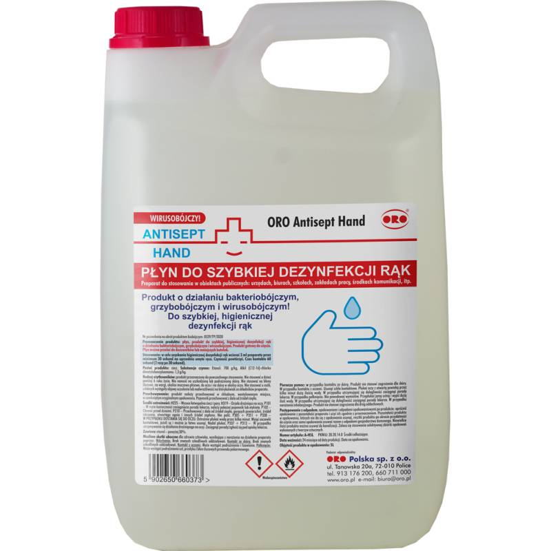 Płyn do szybkiej dezynfekcji rąk, 5 L